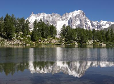 The Grandes Jorasses reflected in the Arpy lake