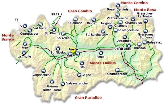 Valle D Aosta Cartina Geografica Politica.Cartina Delle Webcam Valle D Aosta